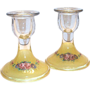 SALE Lovely Reverse Painted Glass Candlestick Holders