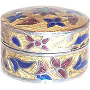 SALE Small Round Cloisonne Sterling Pill Box