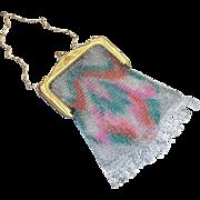 SALE Vintage Whiting & Davis Rainbow Colored Design Mesh Purse