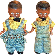 Black Americana: Pair of 2 Knickerbocker Plastic Doll Rattles