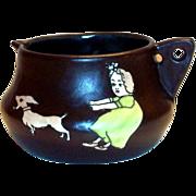 Vintage Stellmacher Teplitz Character Brown Pottery Pitcher