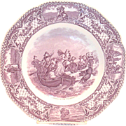 """SOLD Crown Ducal: Colonial Times: Mulberry """"Landing Of The Pilgrims"""" Porcelain Colle"""