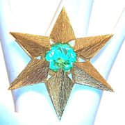 Van's Authentics Light Green Glass Rhinestone & Gold Tone Pin