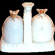 Vintage Porcelain Bees & Beehive Salt & Pepper Set on Handled Tray