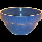 SALE Blue Inverted Picket Fence & Pyramid Design Stoneware Bowl
