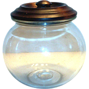 SOLD Vintage Round Glass Candy Jar With A Wooden Lid