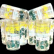 Hazel Atlas Jelly/Peanut Butter Floral Design Drinking Glass