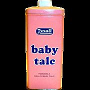 Vintage Rexall Baby Talc Tin