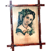 Vintage Wooden Framed Little Fruit Girl Print By Currier & Ives