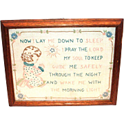 SALE Vintage Framed Children's Lord's Prayer