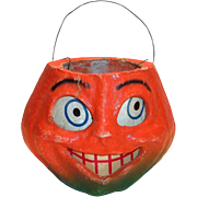 Vintage Paper Mache Pumpkin With Paper Face