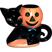 Vintage 1950's Rosbro Plastics Halloween Black Cat & Pumpkin Candy Holder