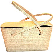 Vintage Tan Vinyl 1940-50's Box Purse
