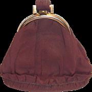 Vintage 1930's-40's Graceline Originals Brown Wristlet Handle Cloth Purse with Matching Coin P