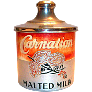 SALE Vintage Carnation Malted Milk Aluminum Container
