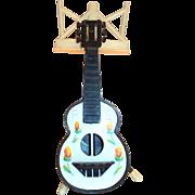 Vintage Novelty Plastic Guitar & Music Stand Salt & Pepper Set