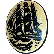 Vintage Celluloid Black Ship Design on Tan Background Cameo Pin