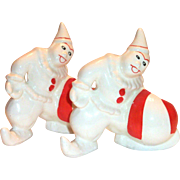 Vintage Clown With Red & White Stripe Ball Planter Bookends