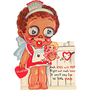 Vintage Black Americana: Google Eyed Maid Mechanical Valentine