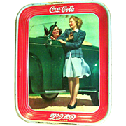 Vintage 1942 Coca Cola Girl Standing Next To Car Enjoying A Coke With Friend Metal ...