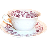 Wedgwood Old Vine of Etruria Mulberry Colored Grape, Leaf & Vine Design Cup & Saucer
