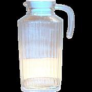 Vintage Vertical Rib Design Clear Glass Water Bottle