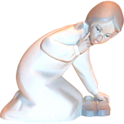 Lladro Girl With Slippers Bisque Porcelain Figurine