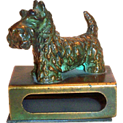 Vintage Brass Scottie Dog Matchbox Holder