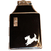 Ronson Scottie Dog Design Black Enamel Top & Back Cigarette Holder & Lighter