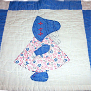 Vintage Handmade Sun Bonnet Sue Quilted Tabletop Runner