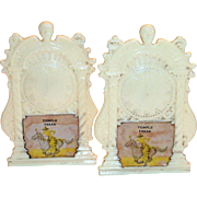 Vintage Plastic Novelty Temple, Texas Souvenir Creme Colored Mantel Clock Design Salt & Pepper