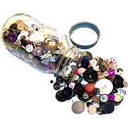 Vintage Ball Glass Mason Jar Filled With Buttons