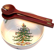 Spode Christmas Tree Round Salad Bowl & Servers