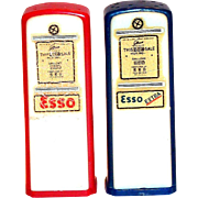 Vintage Esso Gasoline Novelty Plastic Gas Pumps Salt & Pepper Set