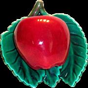 Vintage Red Apple & Green Leaves Porcelain Wall Pocket