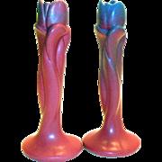 Vintage Van Briggle Tulip Pottery Candleholders/Bud Vases