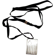 Vintage Sterling Silver Picture Locket On a Black Ribbon Necklace