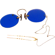 Vintage Blue Pince-Nez Eyeglasses With Hairpin & Chain