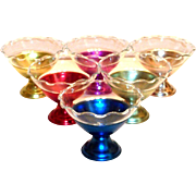 Vintage (6) Colorful Aluminum Sherbert Holders With Clear Glass Inserts