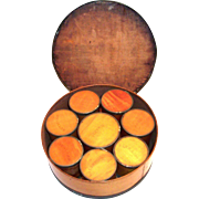 Antique Wooden Round Bentwood Spice Box With Eight Smaller Wooden Spice Boxes Inside