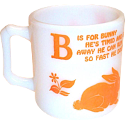 Vintage Hazel Atlas Alphabet B For Bunny Glass Children's Mug