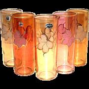 Retro Varzesa Fall Colored & Sparkly Leaf design Collins Glass