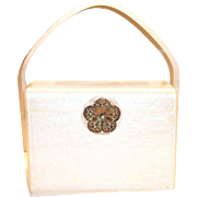 Vintage Wilardy White Lucite Purse With Metal Floral Clasp