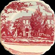 Vintage Syracuse China Restaurant Ware Red Mansion Design Square Salad Plate