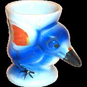 Big Beak Blue Bird Hand Painted Porcelain Egg Cup