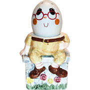Vintage Enesco Imports Hand Painted Porcelain Humpty Dumpty Egg Cup/Holder & Shaker Figurine S
