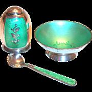Light Green Enamel Design & Sterling Silver Salt Cellar, Shaker & Spoon