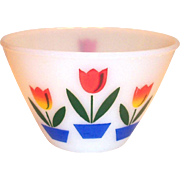 "Fire King Tulips On White 6 1/2"" Rd Bowl"