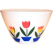 "Fire King Tulips On White 7 1/2""Rd Mixing Bowl"