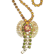 Lovely Amber Rhinestone & Borealis Necklace